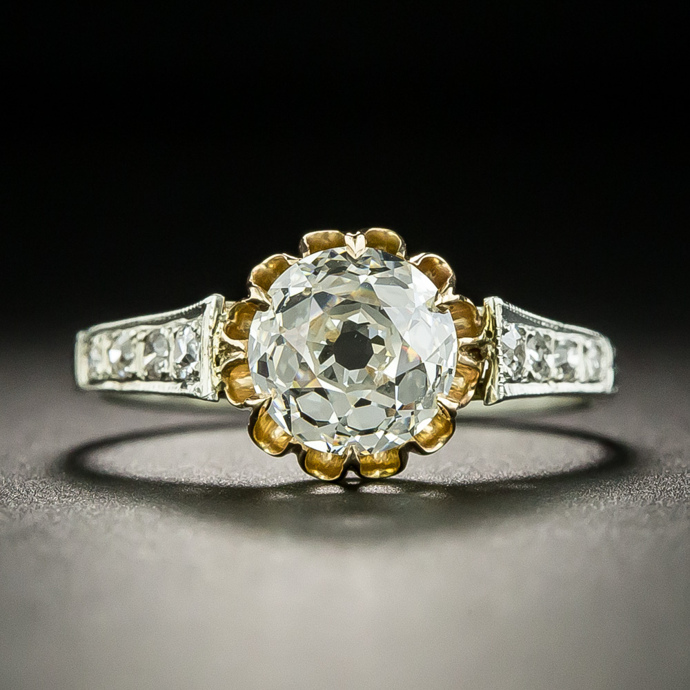 Victorianstyle engagement ring, hand fabricated in two