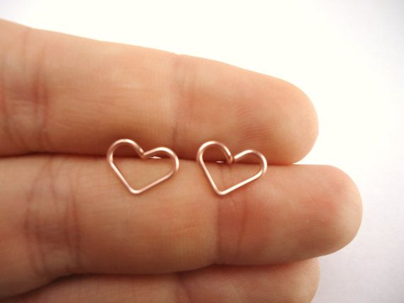 Heart Stud Earrings Rose Gold 20 Gauge by heartfeltwiredesigns  Love these!! Also, any non-dangly rose-gold earrings!!