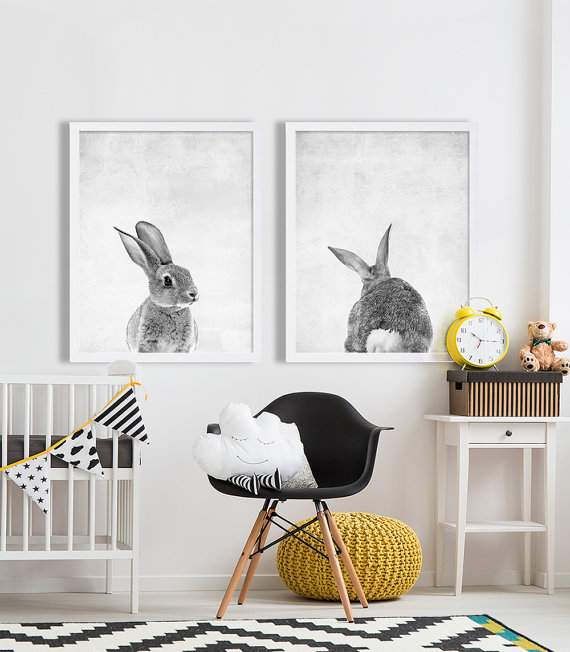 3 Cute Some Bunny Rabbit Nursery Prints Modern Baby Wall Art Picture Kids Room