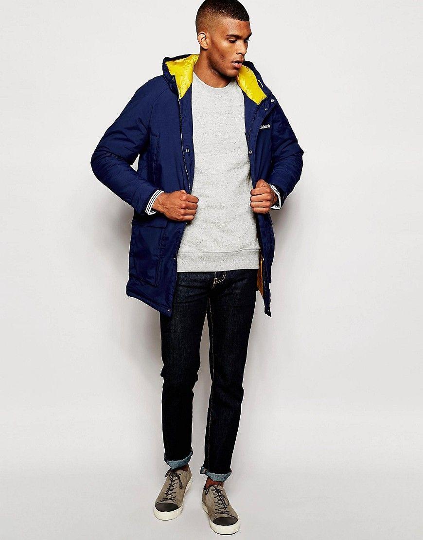 Adidas Originals Blue Padded Parka Ab7858 for men