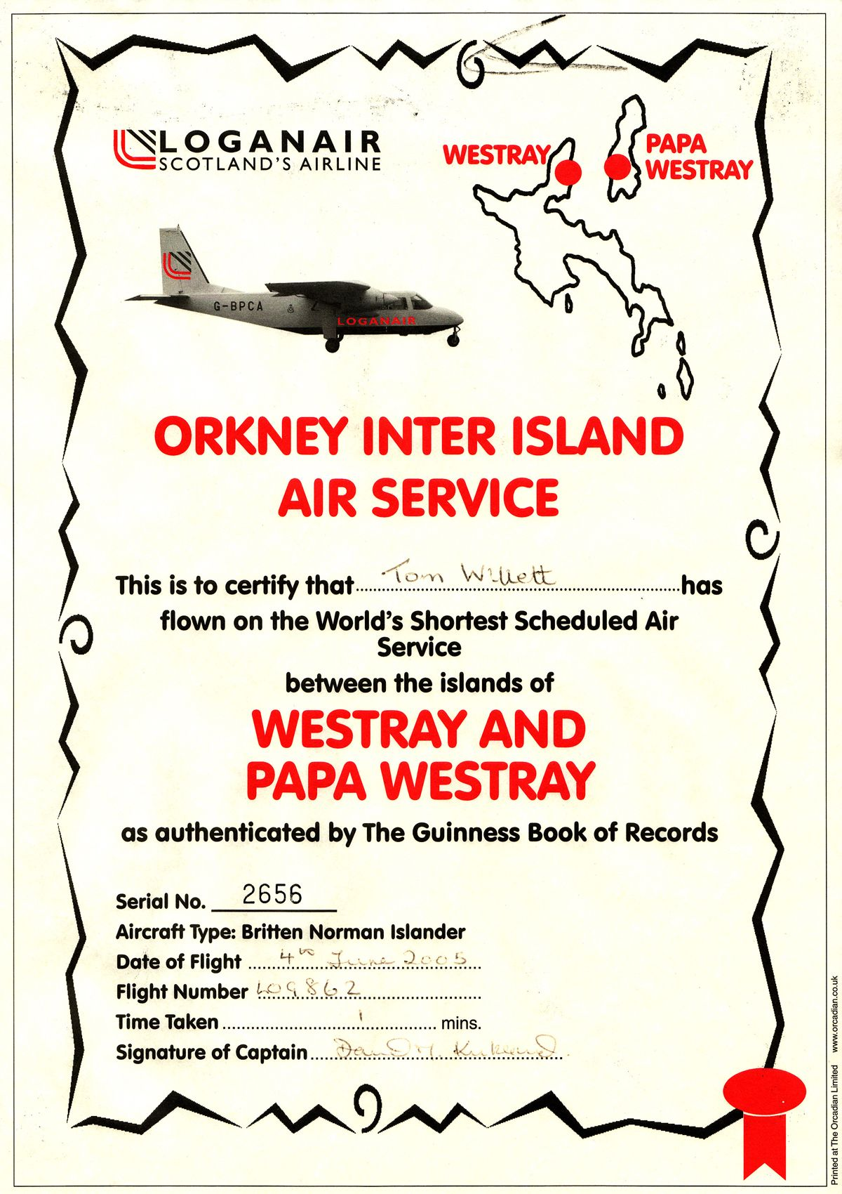 The world's shortest scheduled airline flight - Westray to