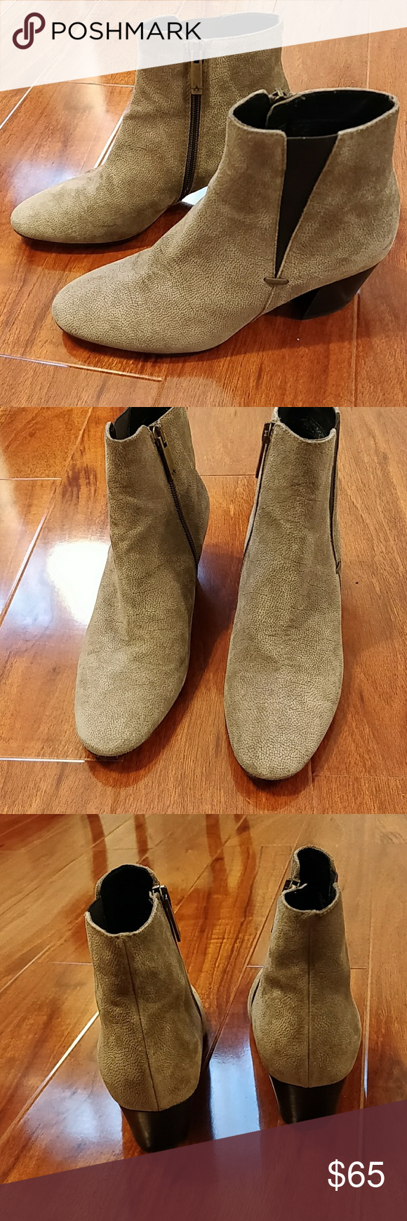 8bb79551f18 Aquatalia Faylynn weatherproof suede taupe booties Purchased from Nordstrom  rack
