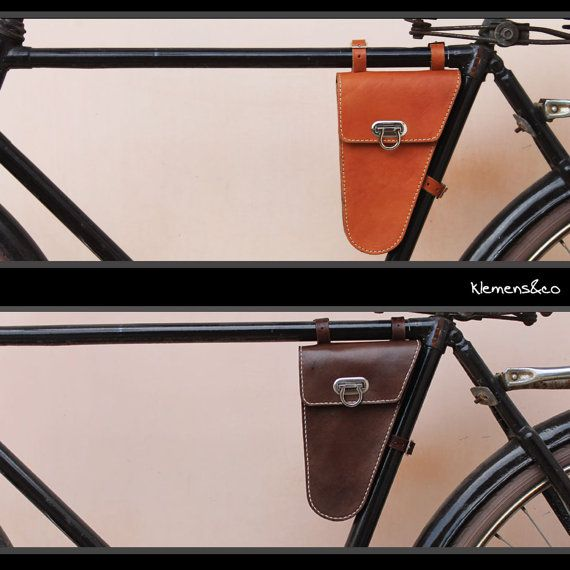 Classic Vintage Leather Bicycle Triangle Frame Bag Retro Bike Bag Handmade