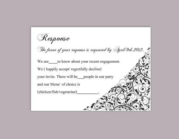 Diy Wedding Rsvp Template Editable Text Word File Download Etsy Wedding Response Cards Wedding Rsvp Response Cards