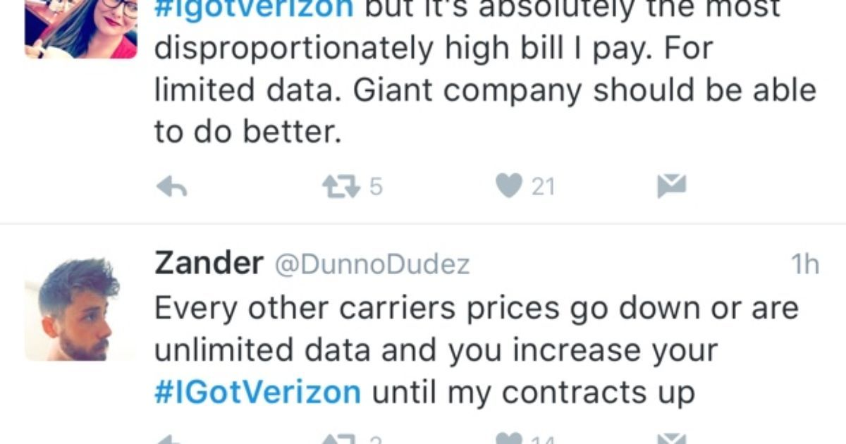 Verizon promotion of new plans on Twitter goes horribly