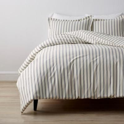 The Company Store Narrow Stripe Navy Cotton Percale Twin Xl Duvet Cover 50638d Txl Navy The Home Depot Duvet Covers Twin Duvet Covers Neutral Duvet Covers