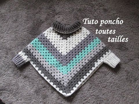 TUTO PONCHO GRANNY HOOK ALL SIZES Easy granny TUTORIAL poncho PONCHO OF GRANNY ganchillo
