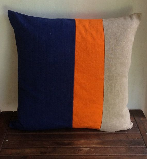 Hand Crafted With Navy Orange And Khaki Pillow Cover