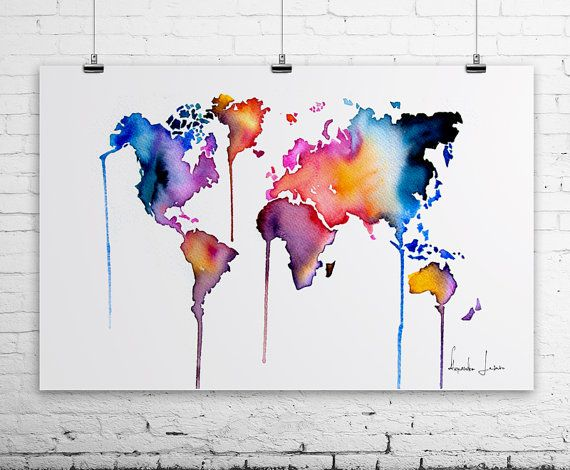 World Map Art Print Colorful Watercolor By Watercolorprint 30 00