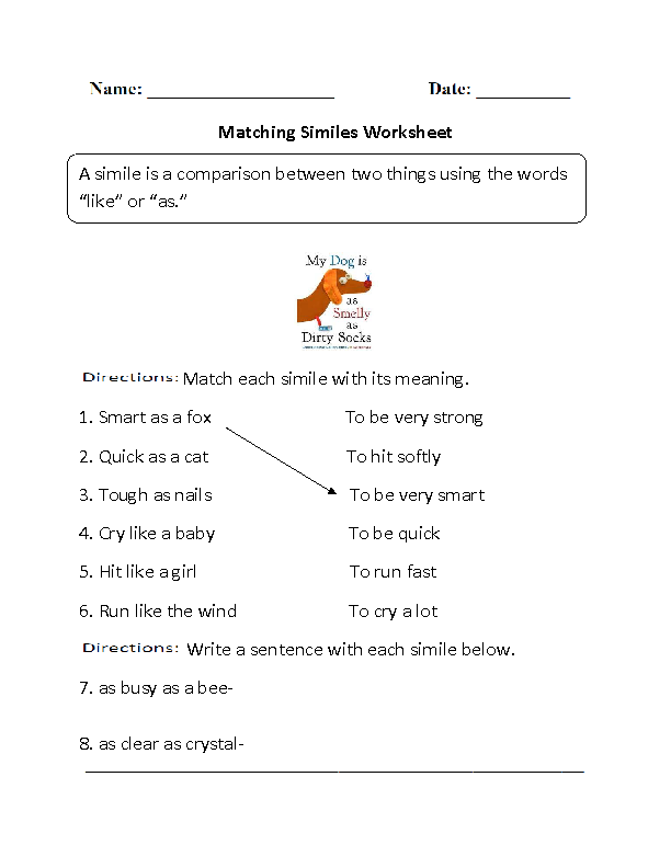 Matching Similes Worksheet | Figurative language | Pinterest