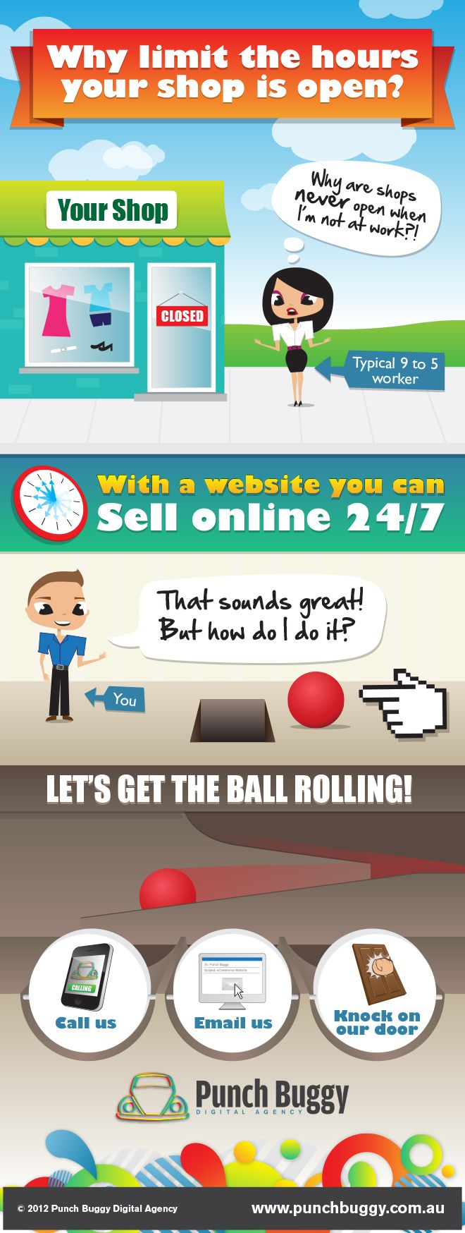 Infographic - Why limit the hours your shop is open? With a website you can sell online 24/7.
