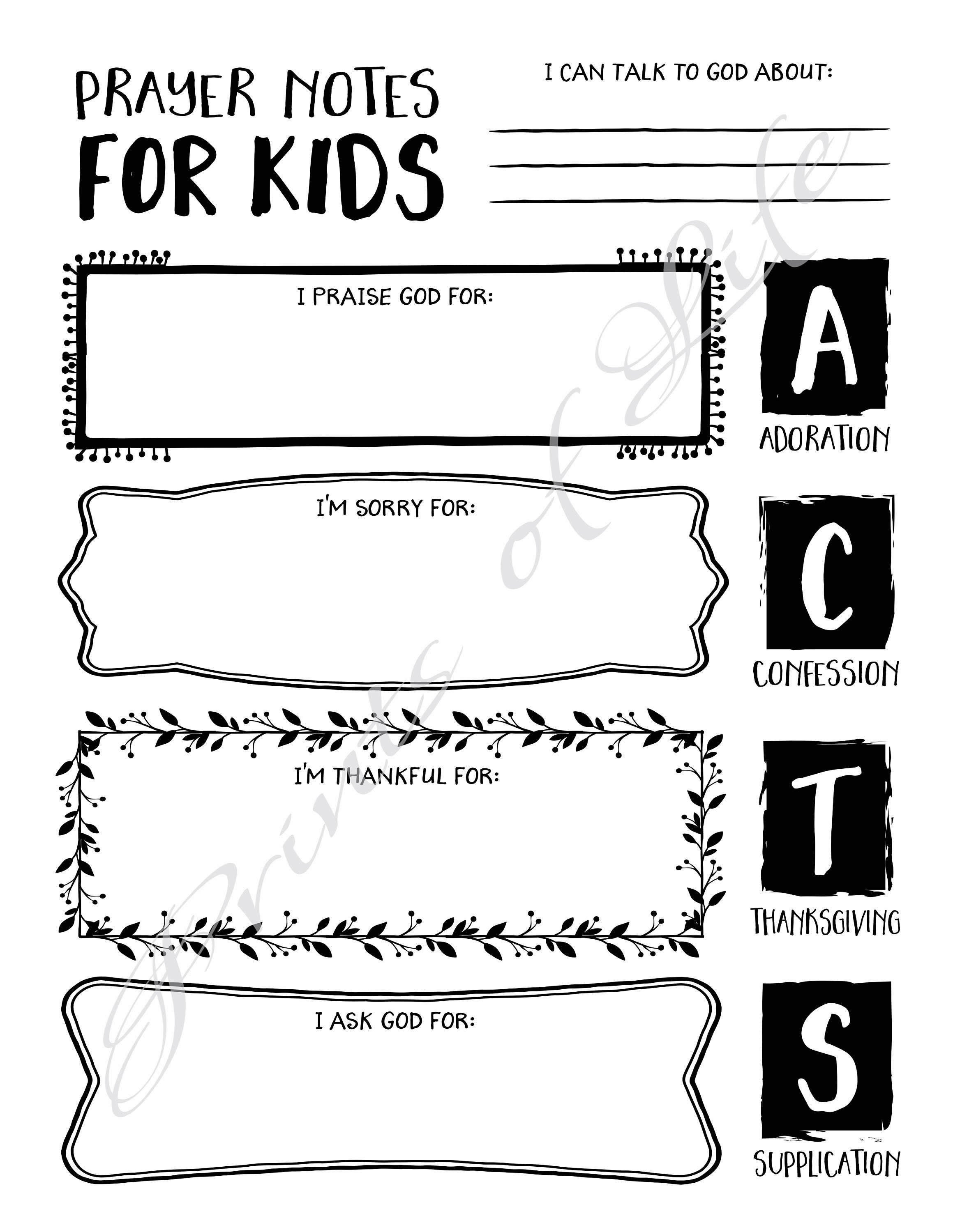 Prayer Notes For Kids Printable Instant Download