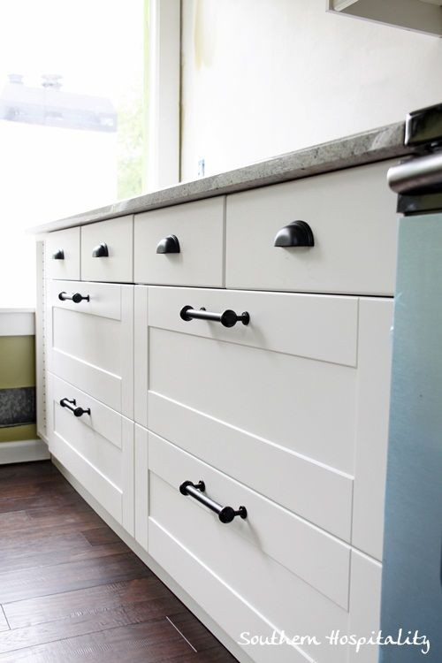 ikea kitchen cabinet handles back splash ideas newly installed hardware pinterest i m renovating a 1979 split level and completely gutted the just completed installation of an adel along with kashmir granite