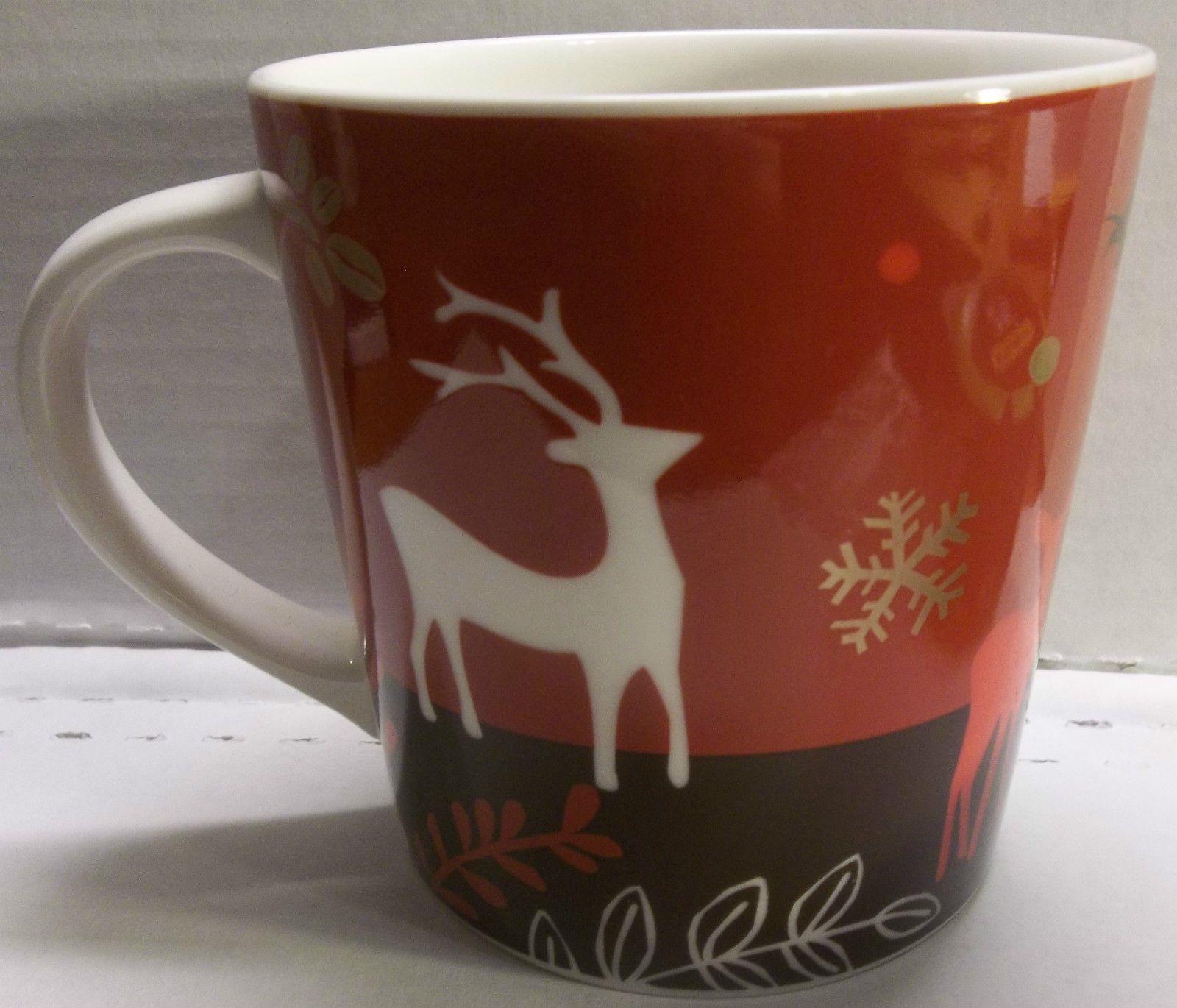 Red 2009 Starbucks Christmas Mug Reindeer Snowflakes Coffee Beans Deer Starbucks Christmas Mugs Starbucks Christmas Christmas Mugs