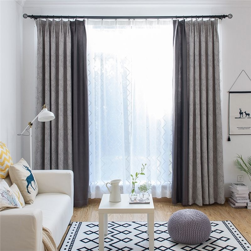 Blackout Curtain European Style Cotton Jacquard Curtain Decorative Feather Pattern Bedroom Curtain One Panel Curtains Living Room Cool Curtains Curtains Bedroom