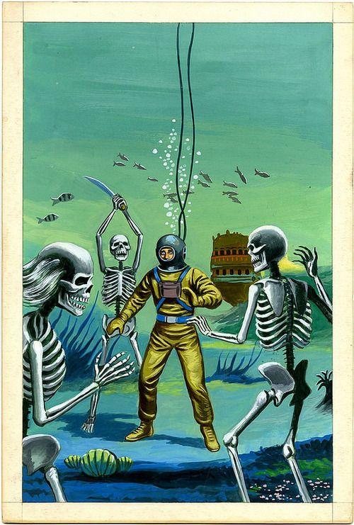 Mexican pulp art #UnderWatter #Skeleton Attack