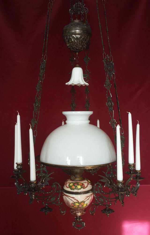 Antique French Gothic Chandelier Victorian Hanging Oil Lamp Candelabra Majolica