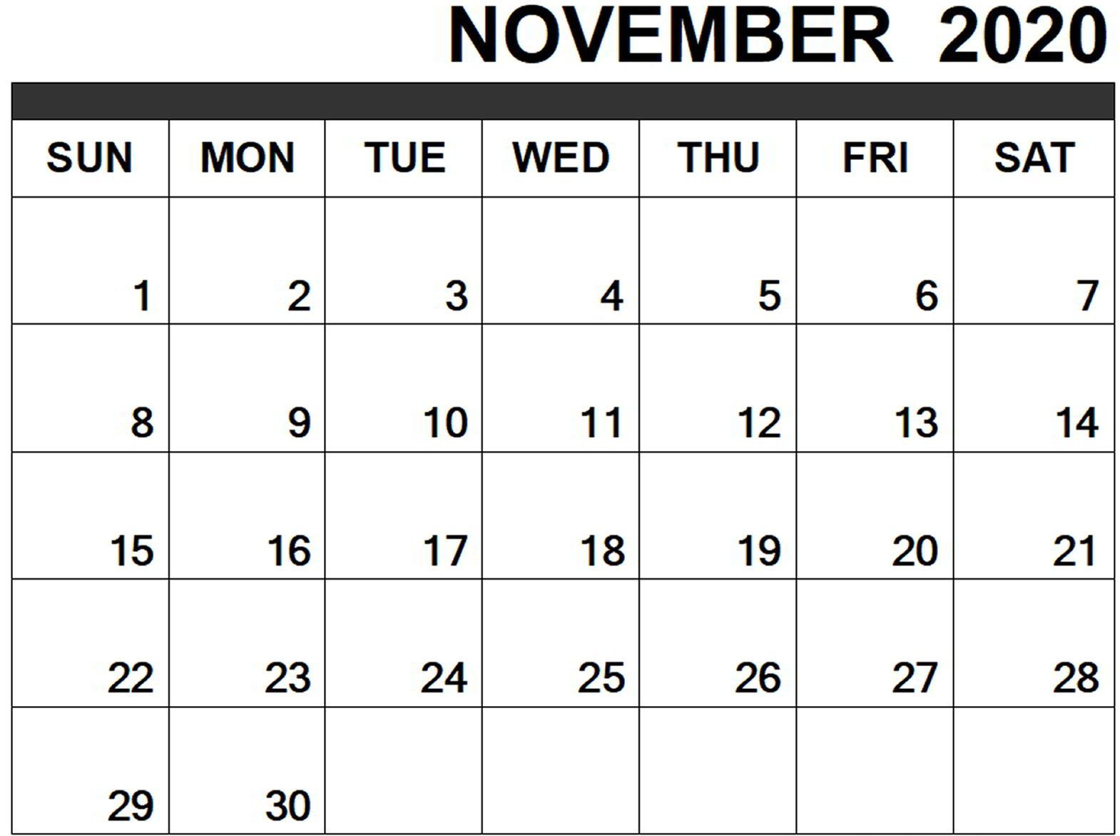 November Calendar 2020 Blank Template Calendar Word Yearly