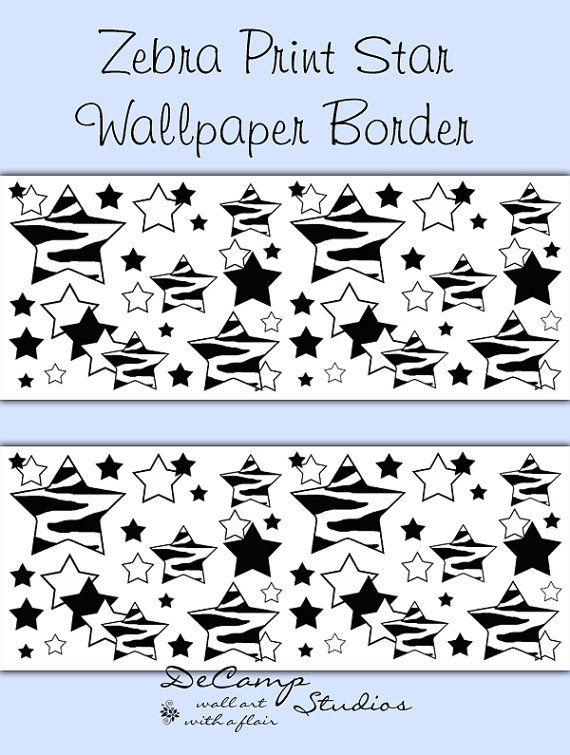 ZEBRA STAR WALLPAPER Border Wall Decals Teen Girl Boy Room Baby Nursery  Kids Animal Print Bedroom Childrens Abstract Art Stickers Decor