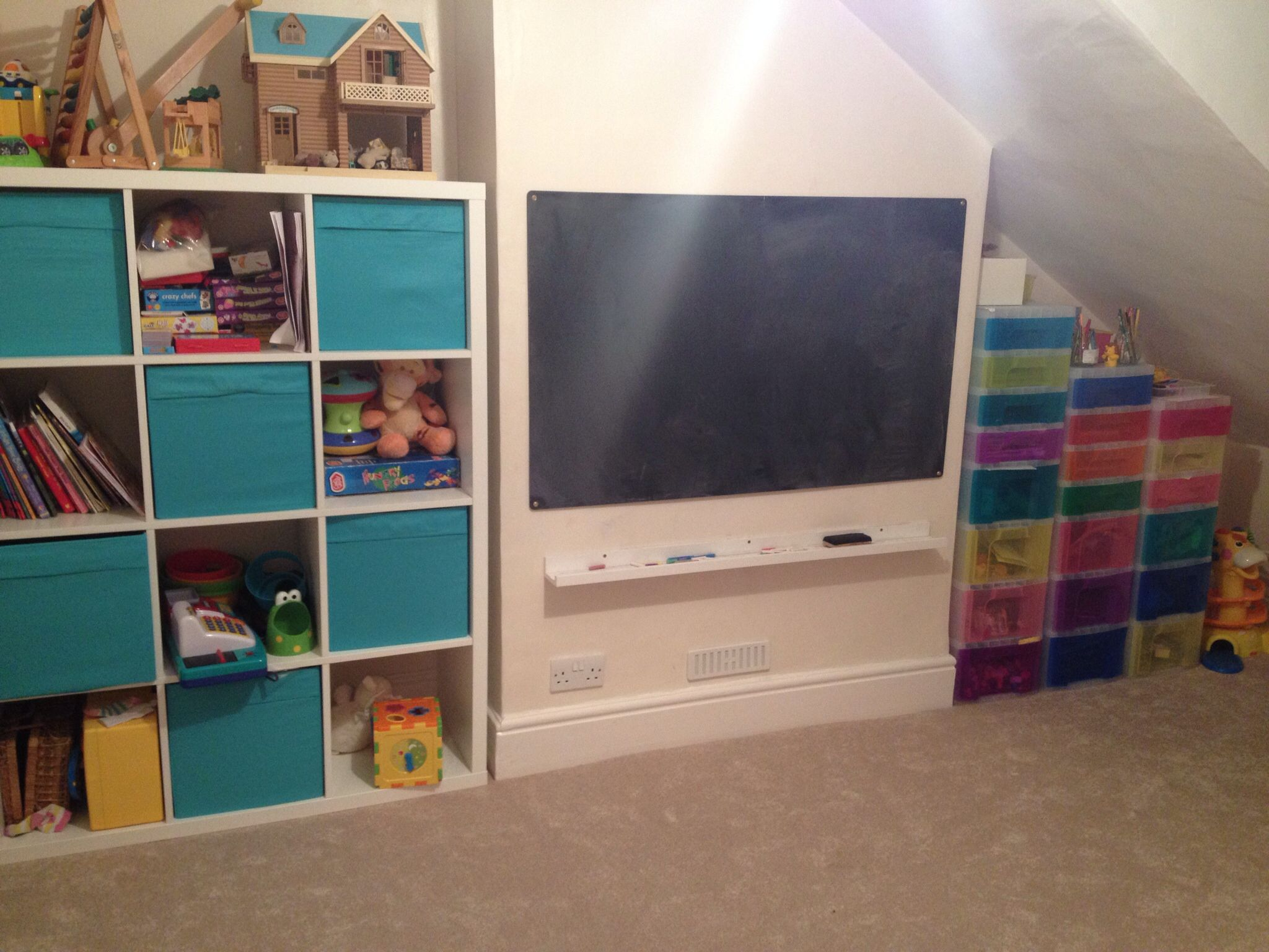 Our playroom kallax toy storage from ikea the doodle drawers from hobbycraft blackboard - Toy shelves ikea ...