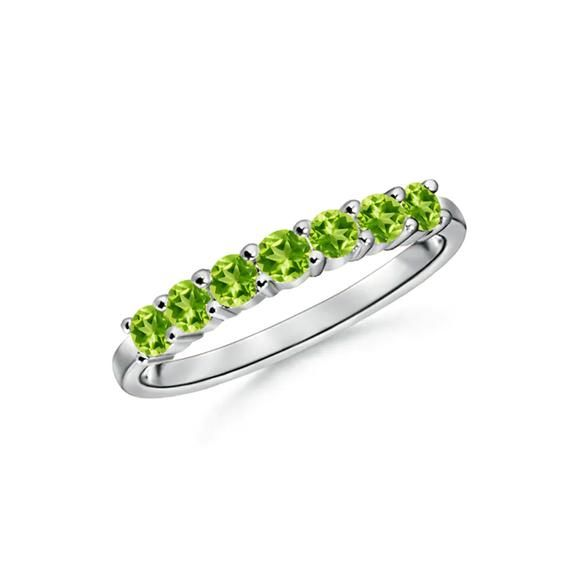 Half Eternity Seven Stone Peridot Wedding Band 925 Sterling Etsy In 2021 Sterling Silver Rings Gemstones Wedding Bands White Gold Rings