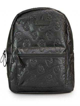 Skull Embossed Faux Leather Backpack by Loungefly (Black)