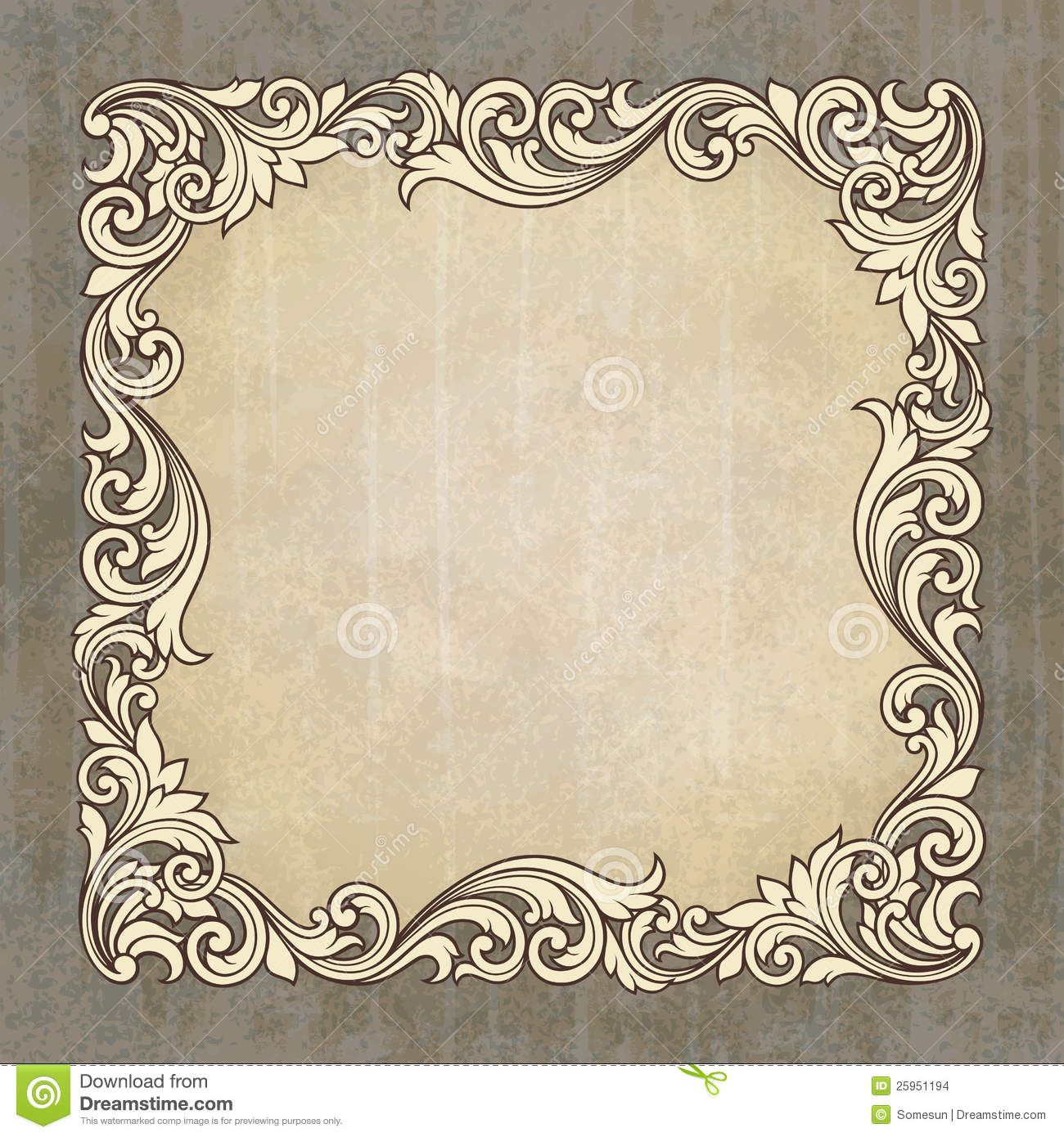Vector Retro Border Frame At Grunge Background - Download ...