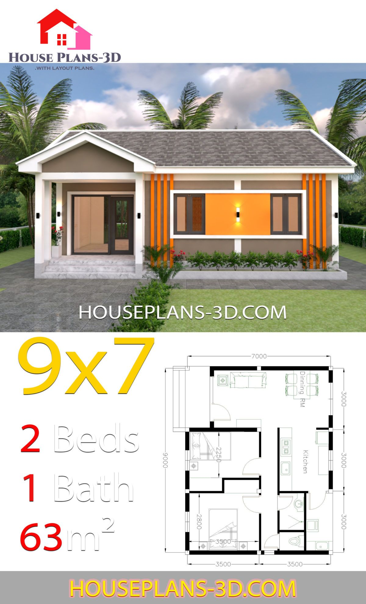 House Plans 9x7 With 2 Bedrooms Gable Roof House Plans 3d Gable Roof House Bungalow House Plans House Plans