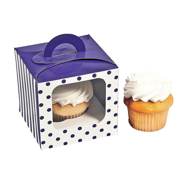 Purple Polka Dot Cupcake Boxes with Handle | Polka dot cupcakes ...
