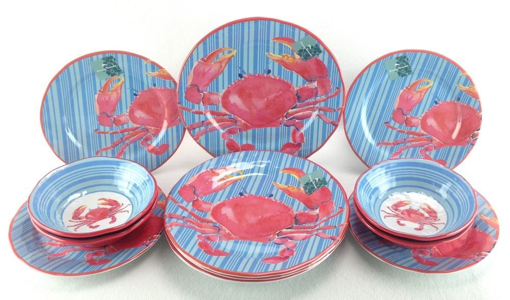 Tommy Bahama 12 Piece Dinner Salad Bowls Melamine New Pink