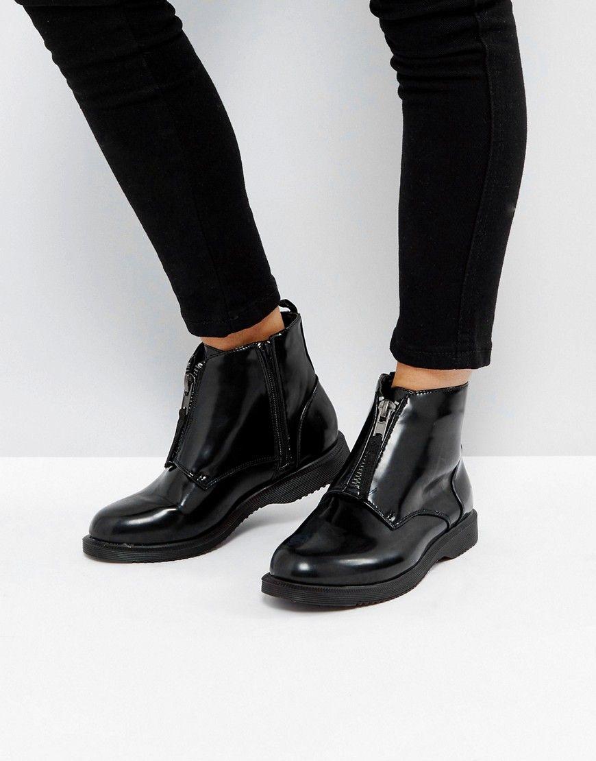 später große Sammlung rationelle Konstruktion Truffle Collection Front Zip Up Ankle Boots - Black | 부츠 ...