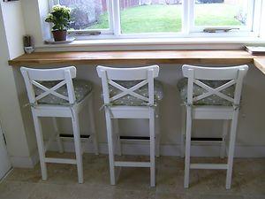 Ikea White Bar Stools With Backrest Ingolf X 3 New