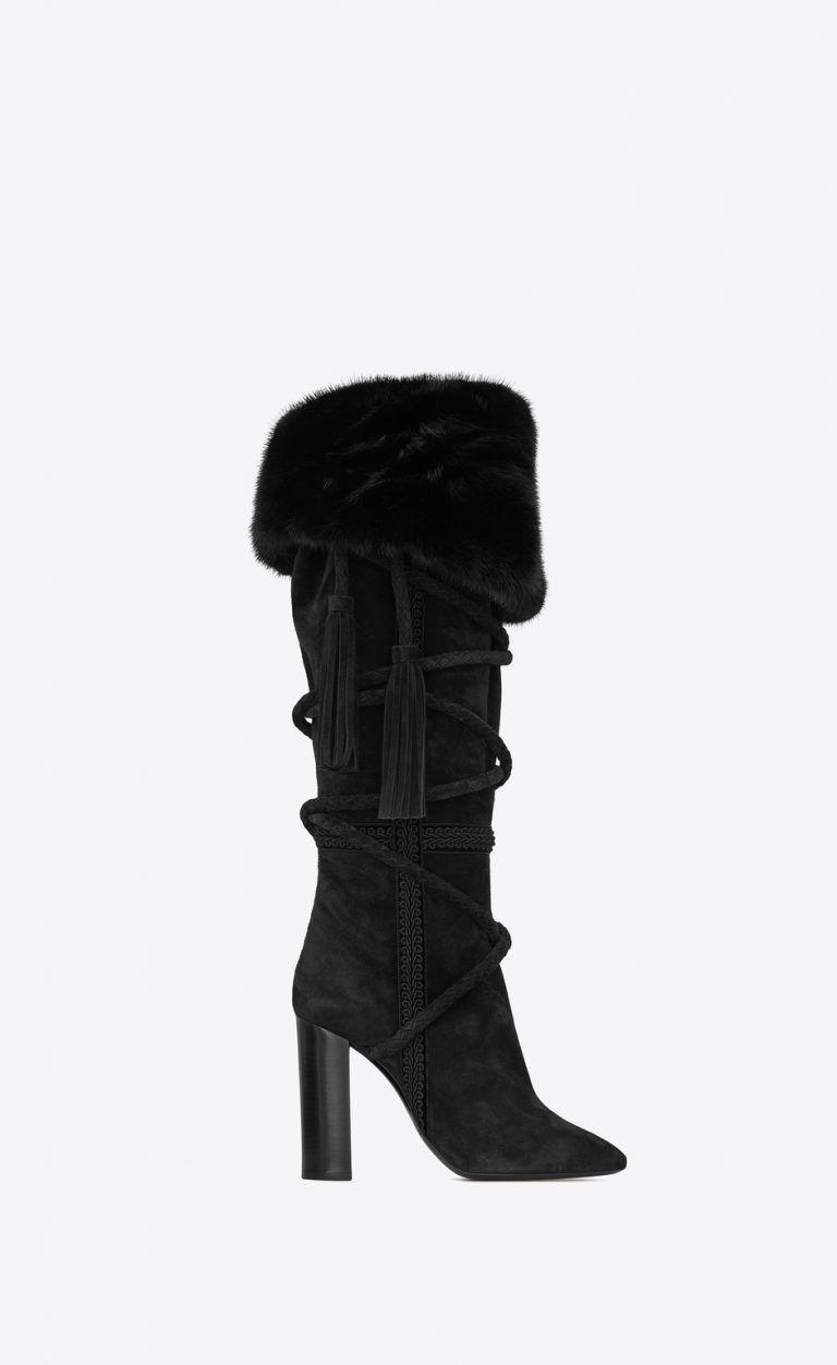 0174159edb1 Exclusive Mink Saint Laurent Boots For Just  10k - High HeelSEEK