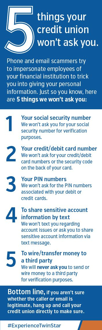 Credit Unions take your personal information seriously ...