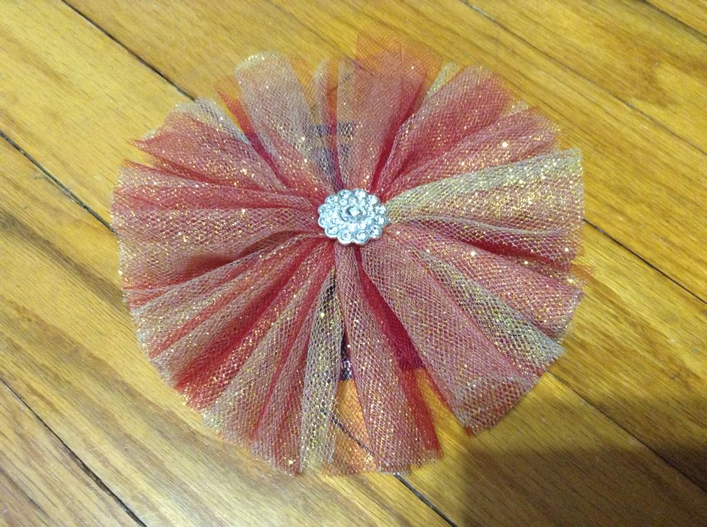 Red/yellow tulle circle bow