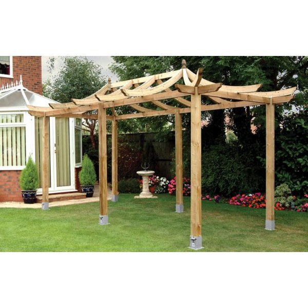 grange japanese extended pergola curved rafter style roof