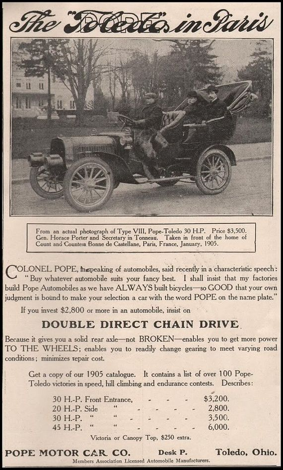 Paper Gallery Collectibles - Original 1905 Pope Toledo Automobile ...