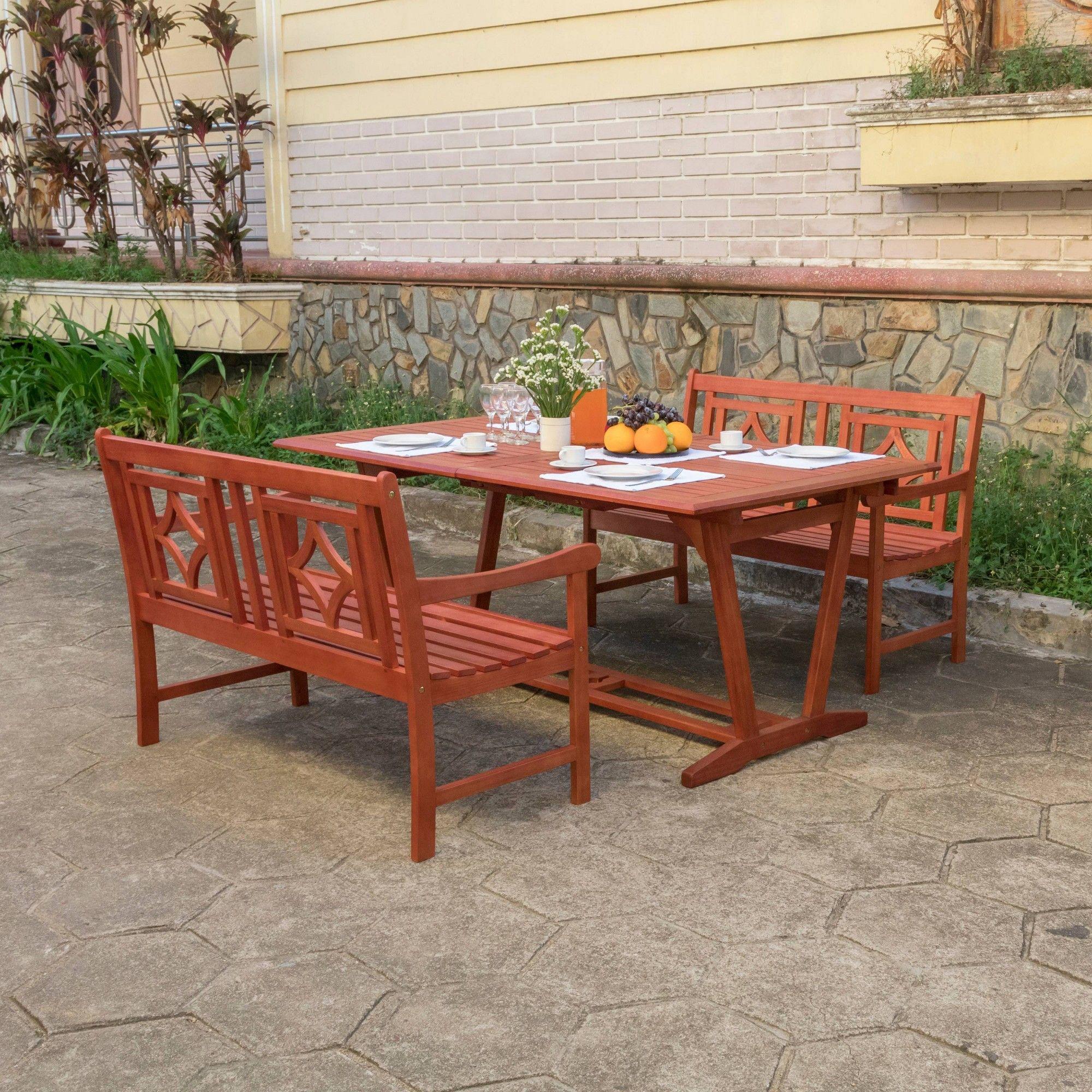 Vifah Patio Furniture.Malibu 3pc Wood Extendable Outdoor Patio Dining Set Tan Vifah In