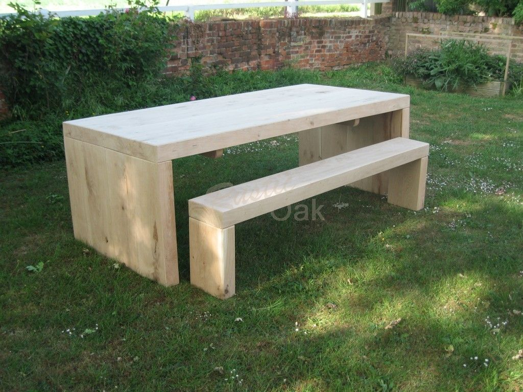 Solid End Garden Table U0026 Benches   Rustic Oak Furniture