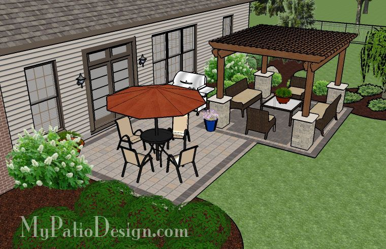 Simple Brick Patio with Pergola | Patio Designs and Ideas #backyardpatiodesigns
