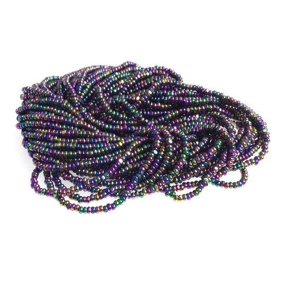 True Cut Seed Beads, Purple Iris Charlottes, Metallic, Size 13, Full Hank, 12 Strands, Vintage
