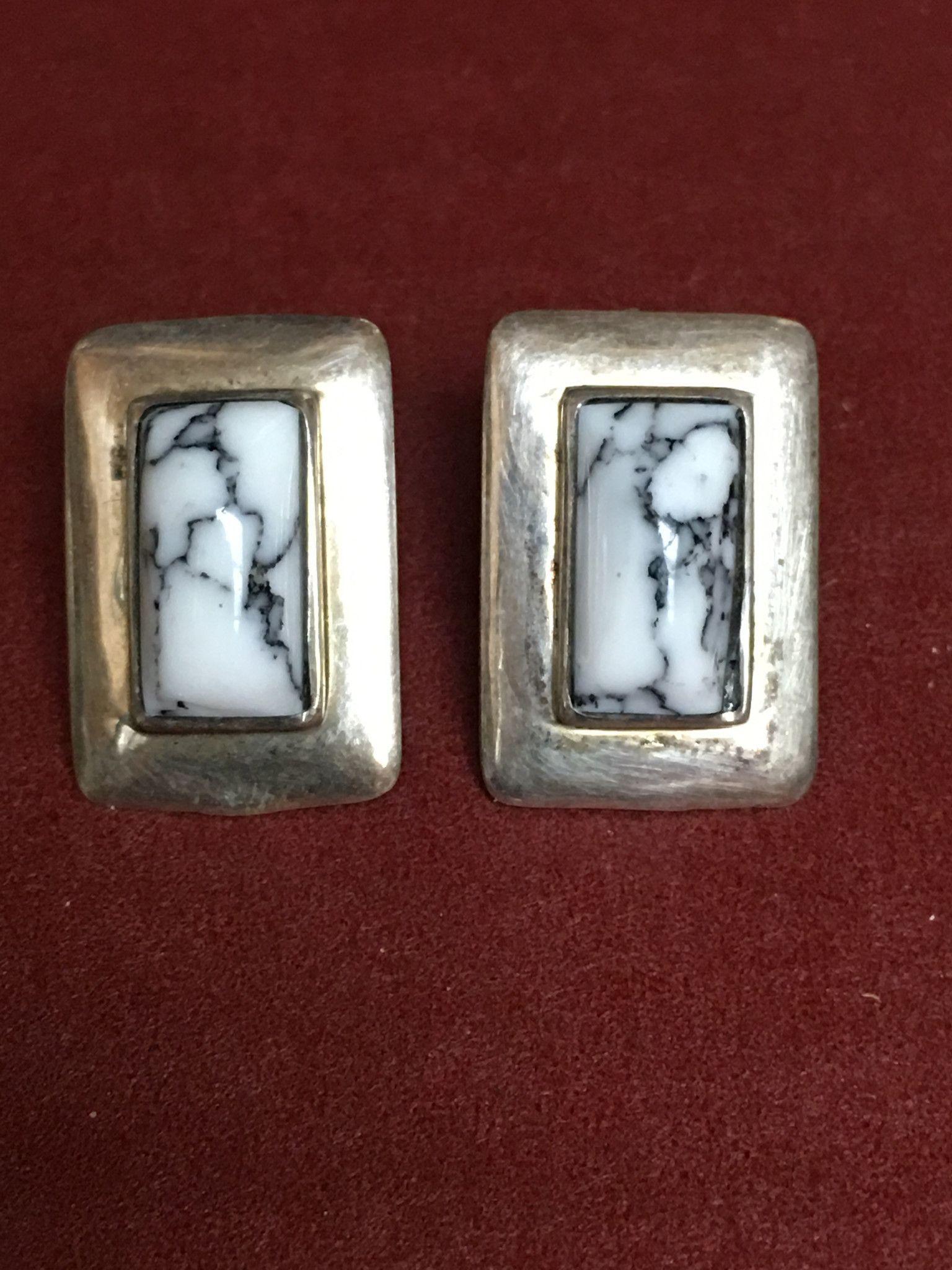 White Turquoise Earrings White Buffalo Pierced Navajo Post Studs Southwest Southwestern White Turquoise White Buffalo Turquoise