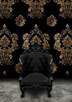 Pin By Jenn Dicocco On Black Gold Gold Bedroom Black Furniture Gold Wallpaper