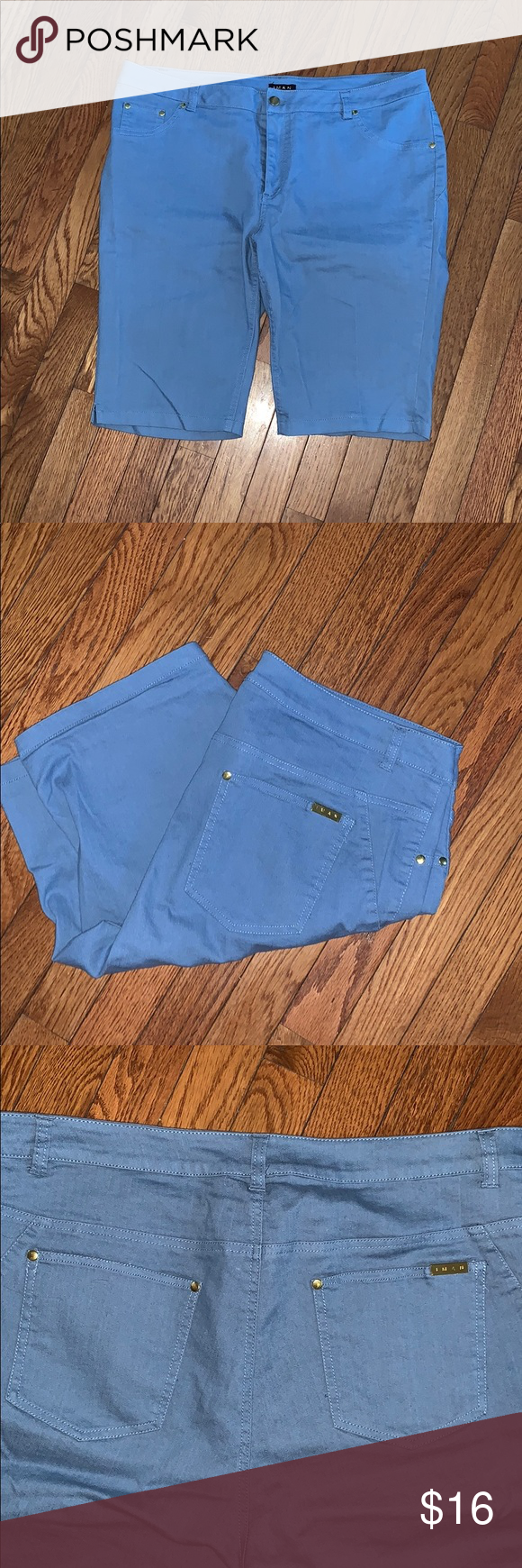 Iman women's shorts light blue super stretch EUC WORN  ONCE IF AT ALL POWDER BLUE GOLD ACCENTS IMAN Shorts Jean Shorts #lightblueshorts
