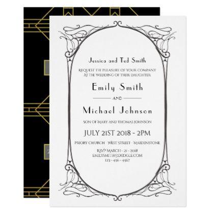 Art deco formal wording black gold wedding invite invitations art deco formal wording black gold wedding invite stopboris Choice Image