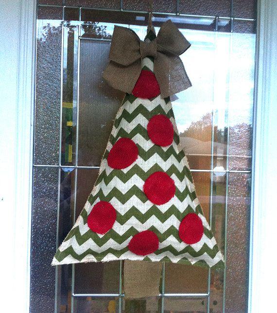 chevron christmas tree burlap door decoration by vintageshore 3500 - Burlap Christmas Door Decorations