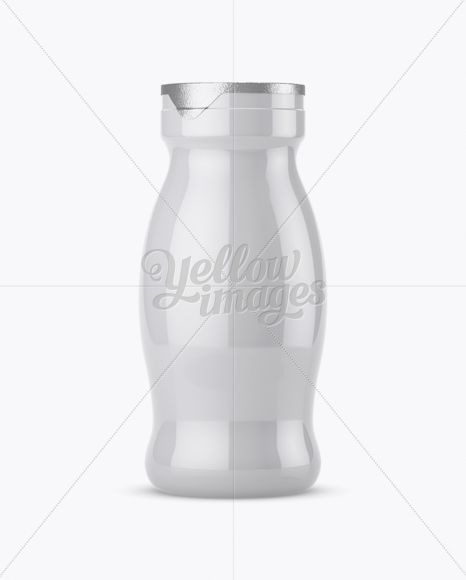 Glossy Plastic Dairy Bottle Mockup - Front View