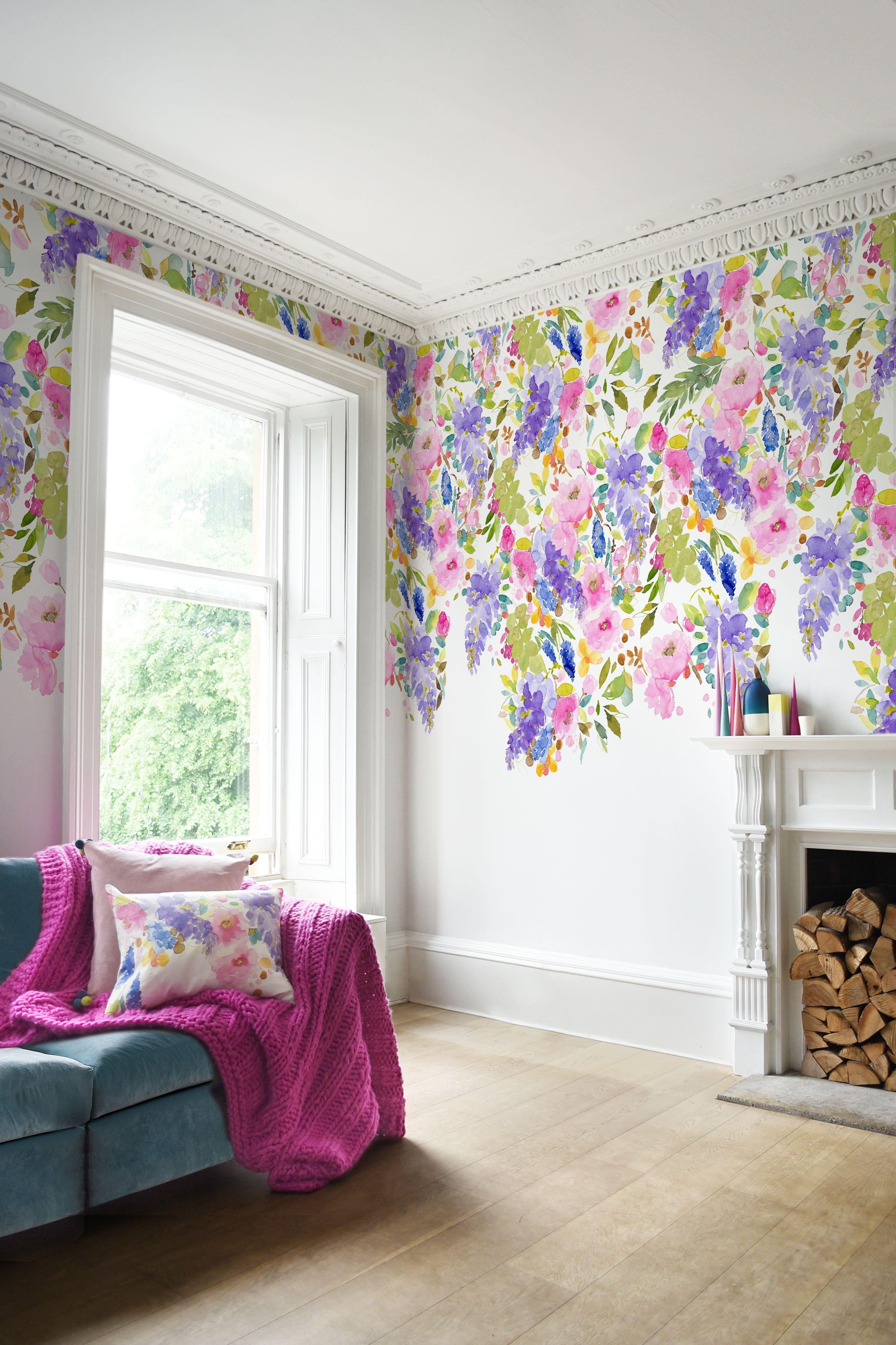 Wisteria Garden Mural Wallpaper By Bluebellgray
