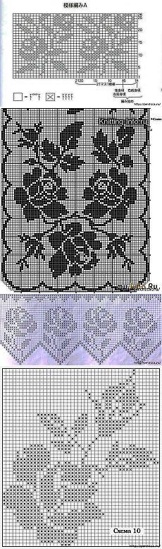 Вязаные модели с розами в технике филейного вязания