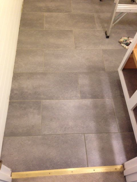 It S L And Stick Groutable Vinyl Tile My Hubby Installed In A Of Hours Far Easier To Install Than Ceramic
